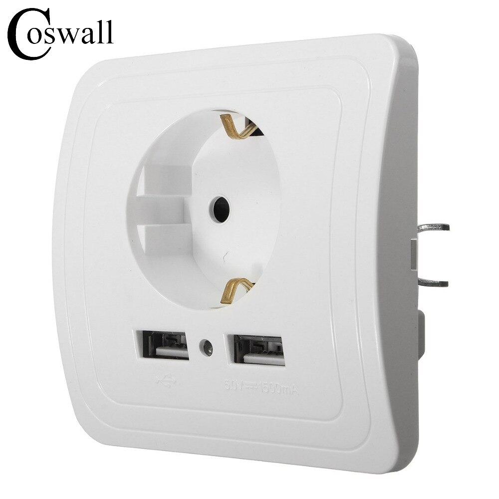 Оптовая стены Мощность разъем заземлен, 16A ЕС Стандартный электрической розетке с 1500mA Dual <font><b>USB</b></font> Зарядное устройство Порты и разъёмы для мобильны&#8230;
