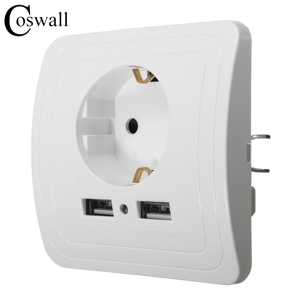 Wholesale Wall Power Socket Plug Grounded, 16A EU Standard Electrical Outlet With 1500mA Dual USB Charger Port for Mobile manufacturer all aluminum panel pop up floor socket eu standard electrical dual outlet with 2 usb charging port for mobile