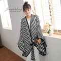 2015 Hot Sale Dual-Use Large Size Split Shawl Plover Plaid Pashmina Around Thermal Knitted Cloak Cape Blanket Winter Scarf