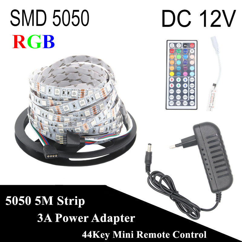 DC 12V RGB LED Strip 5050 5M 300LED Not Waterproof Fita LED Light Flexible Neon Bande LED Tape Lamp + 3A Power +44Key Controller beilai 5050 rgb led strip waterproof 5m 10m 30led m dc 12v led light strip flexible neon tape with 3a power and 44key remote