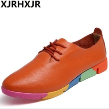 Spring New Soft Split Leather Shoes Women 2017 Comfortable Lace Up Loafters Women's Flats Pointed Toe Outside Casual Shoes