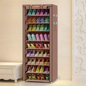 Image 1 - Organizador de sapatos para armário, equipamento à prova de poeira e à prova dágua, prateleira portátil com 10 camadas 9 grades para sapatos e móveis