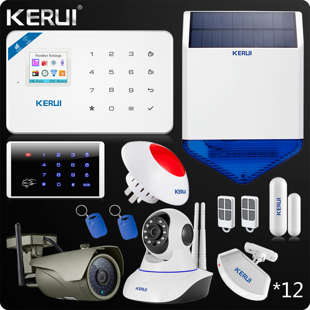 Kerui W18 WIFI GSM SMS App Control Burglar Home Alarm Touch Panel Home Security Alarm System 1080P Camera Wifi Solar Siren