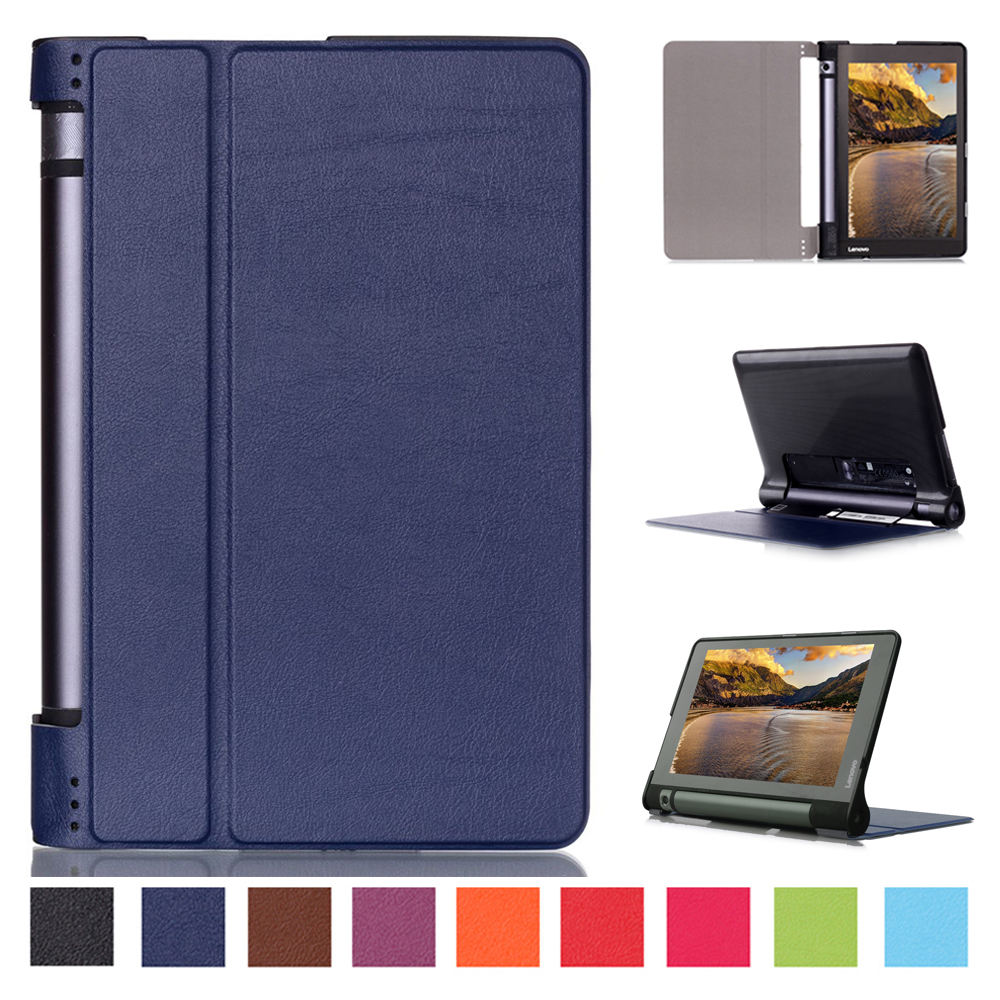 Ultra thin smart PU leather cover case stand cover case for 2015 lenovo Yoga tab 3 8 850F tablet +free film+free stylus ultra slim case for lenovo tab 2 a8 50 case flip pu leather stand tablet smart cover for lenovo tab 2 a8 50f 8 0inch stylus pen