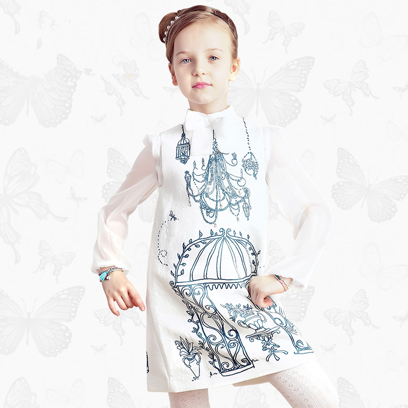 Girls 'Ortensia' Dress with Handmade Dragonfly 2017 Brand Princess Dress Long Sleeve Robe Fille Clothes Kids Dresses 21 wi fi точка доступа роутер tp link tl wr940n