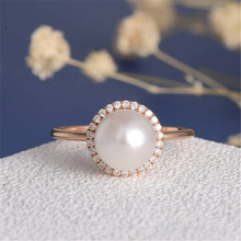 ФОТО zhixun big pearl ring for women ladies white crystal rose gold fashion big round ball engagement rings jewelry