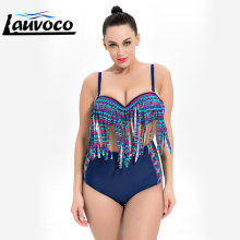 290d955c27b3d High Waisted Bikini Set Plus Size Swimwear Women Push Up Fringe Big Chest  Swimsuit Beach Wear Striped Large Size Bathing Suit