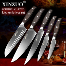 XINZUO ZHI series 5pcs kitchen knife set Germany 1.4116 steel chef knife cleaver super sharp cleaver utility knife free shipping