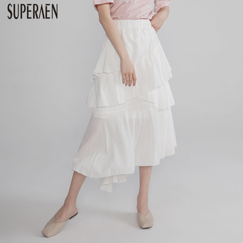 SuperAen 2019 Summer New Ruffled Women Skirts Solid Color Wild Casual Ladies Skirts Asymmetric Elastic Waist Skirts Female(China)