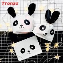 Tronzo 플라스틱 가방 선물 포장 생일 파티 장식 어린이 50pcs 토끼 귀 팬더 캔디 쿠키 플라스틱 가방 결혼 선물