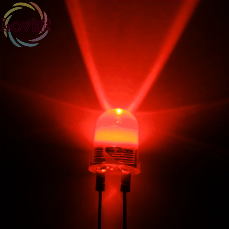 10pcs/bag High Quality 10mm 0.5W Red LEDs 10MM High Power Ultra Bright Led  Light Emitting Diodes 190KMCD Retail HOT SALE