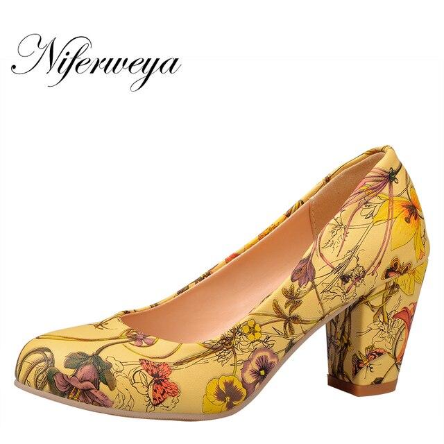 c5bfa08bcf5685 Mode femmes chaussures bout rond talons carrés femmes fleur pompes pas cher  travail chaussures femmes talons