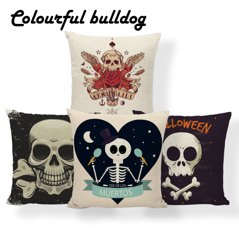Sugar Skull Nautical Anchor Cushion Halloween Pillows Horror Oriental Dorm Baby Birth Gifts Bone Pillowslip Covers 45*45 Linen