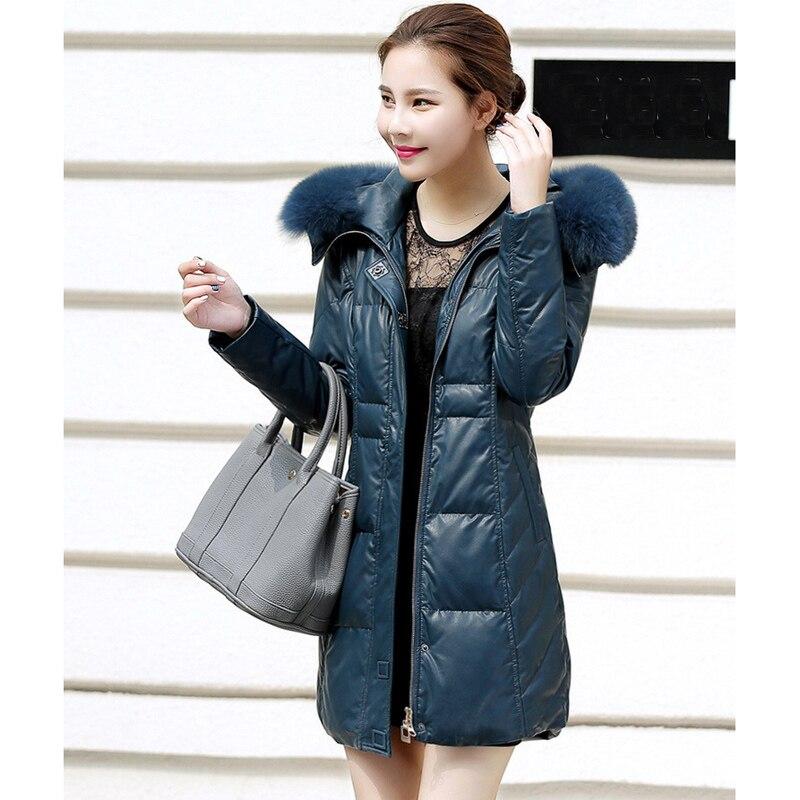 2018 Große Größe 6xl Luxus Fuchspelz Kragen Frauen Wintermantel Jacken Leder 90% Weiß Entendaunen Gepolstert Warme Unten Und Mantel Gq1555
