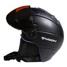 Moon ce certification lunettes casque de ski dans le moule ski casque avec lunettes snowboard/planche à roulettes casque 5 couleurs s/m/l/xl