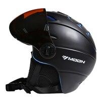 MOON CE Certification Glasses Ski Helmet In Mold Skiing Helmet With Goggles Snowboard Skateboard Helmet 5