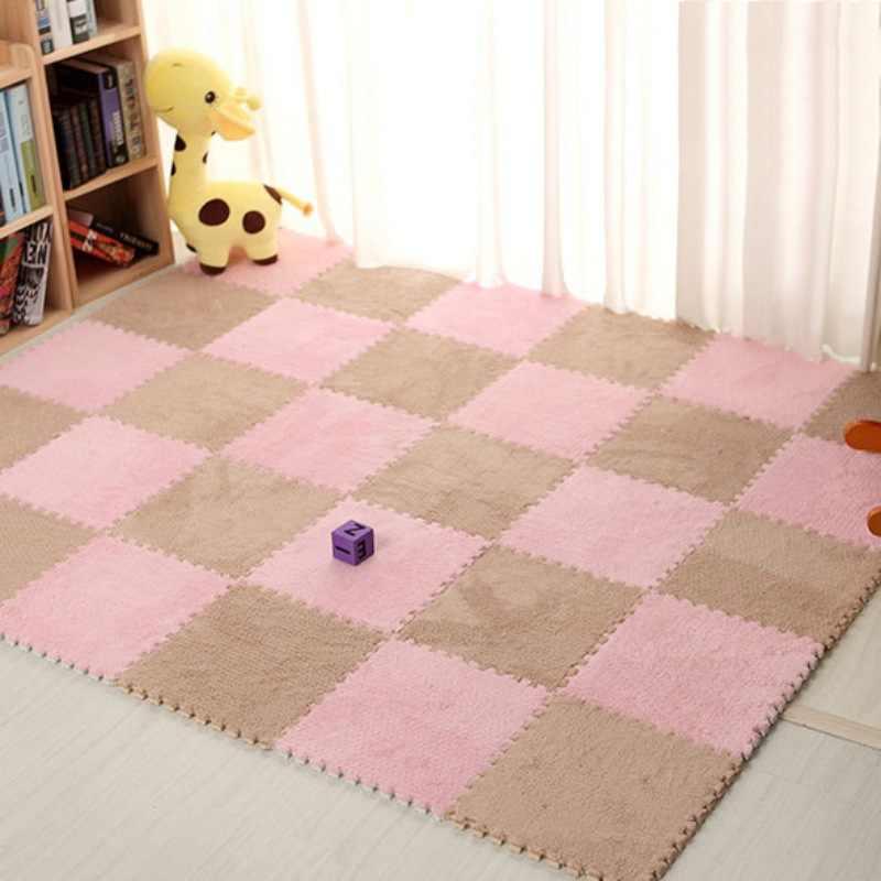 Удобные коврики для детской строчки Экологичные плюшевые взаимосоединяющиеся пенопластовые коврики Напольный пазл плитка коврик для ползания ребенка