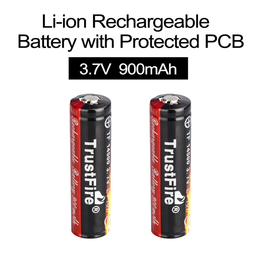 2pcs TrustFire 3.7V 900mAh 14500 Li-ion Rechargeable Battery Lithium Ion Batteries with Protected PCB for LED Flashlights 2pcs trustfire 2400mah 3 7v 18650 lithium battery rechargeable li ion battery with protected pcb for led flashlight headlamp