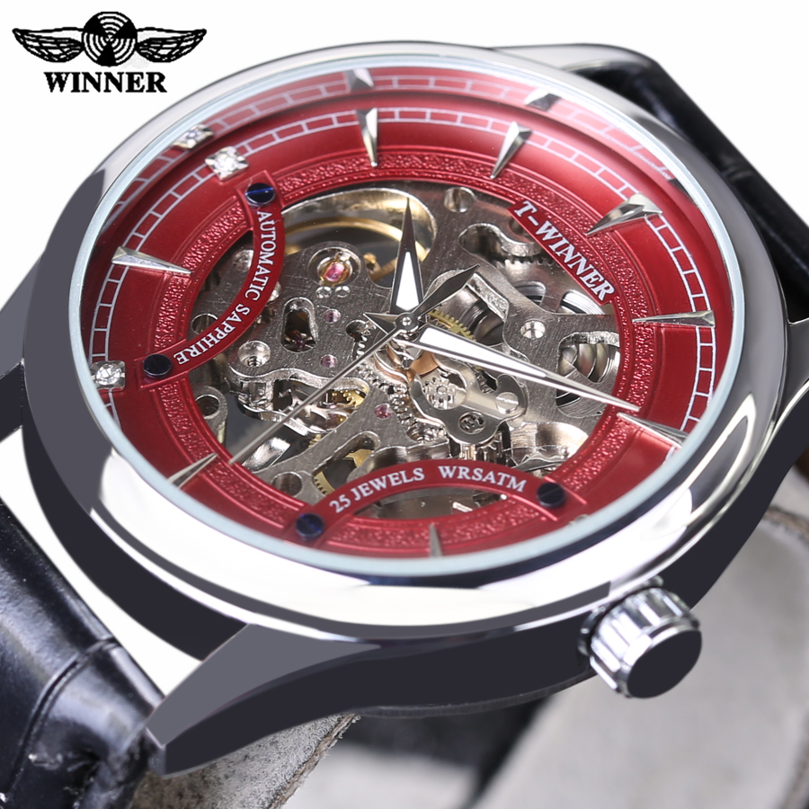 Mechanical Watch Winner Red Fashion Stylish Skeleton Diamond Luxury Design Mens Watches Top Brand Luxury Male Wrist Watch Clock цена