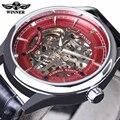 Moda Con Estilo Skeleton Reloj mecánico Ganador Rojo Diamante Diseño de Lujo Para Hombre Relojes de Primeras Marcas de Lujo Hombre Reloj de pulsera de Reloj