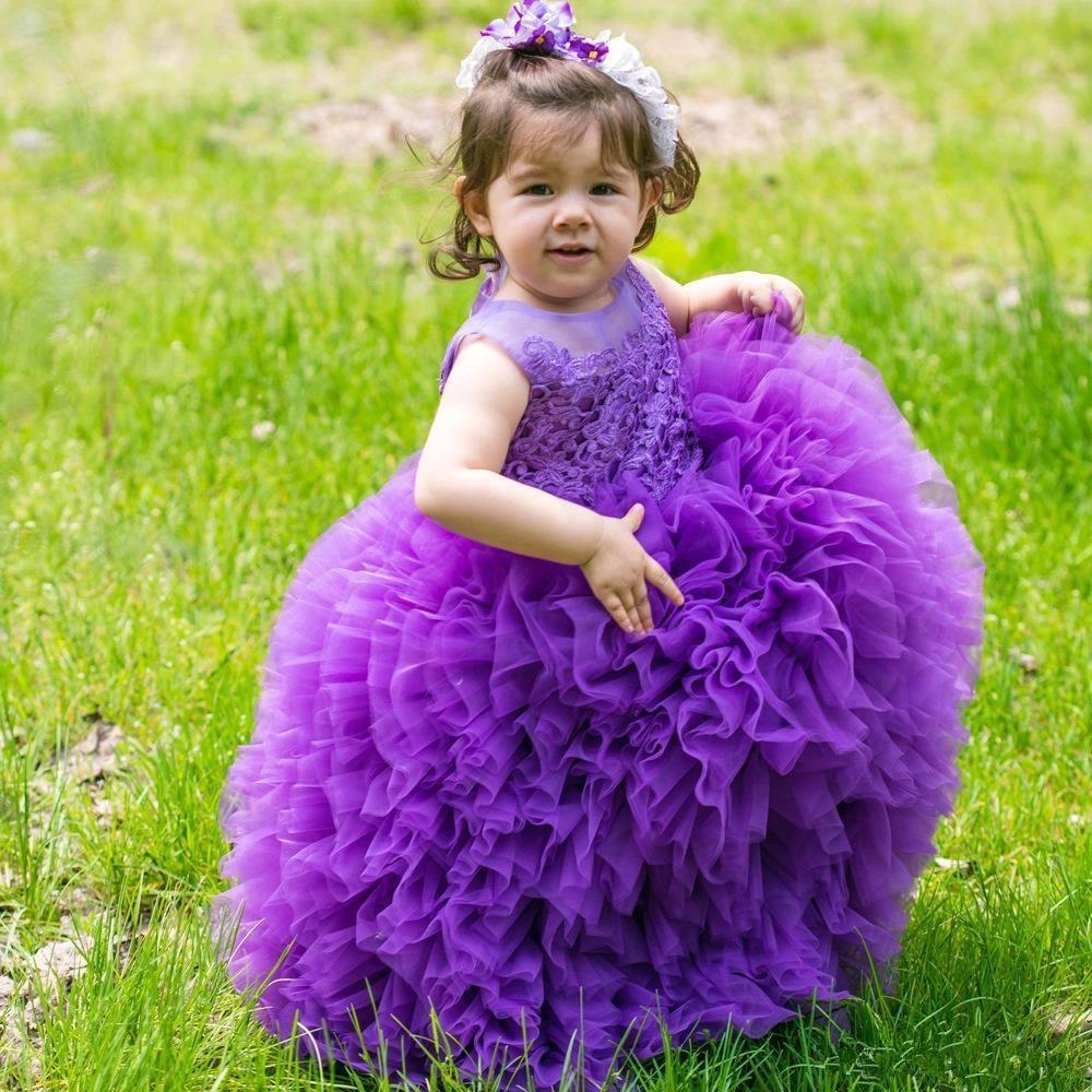 Purple 2019 Flower Girl Dresses For Weddings Ball Gown Scoop Tulle Lace Ruffles Long First Communion Dresses For Little Girls