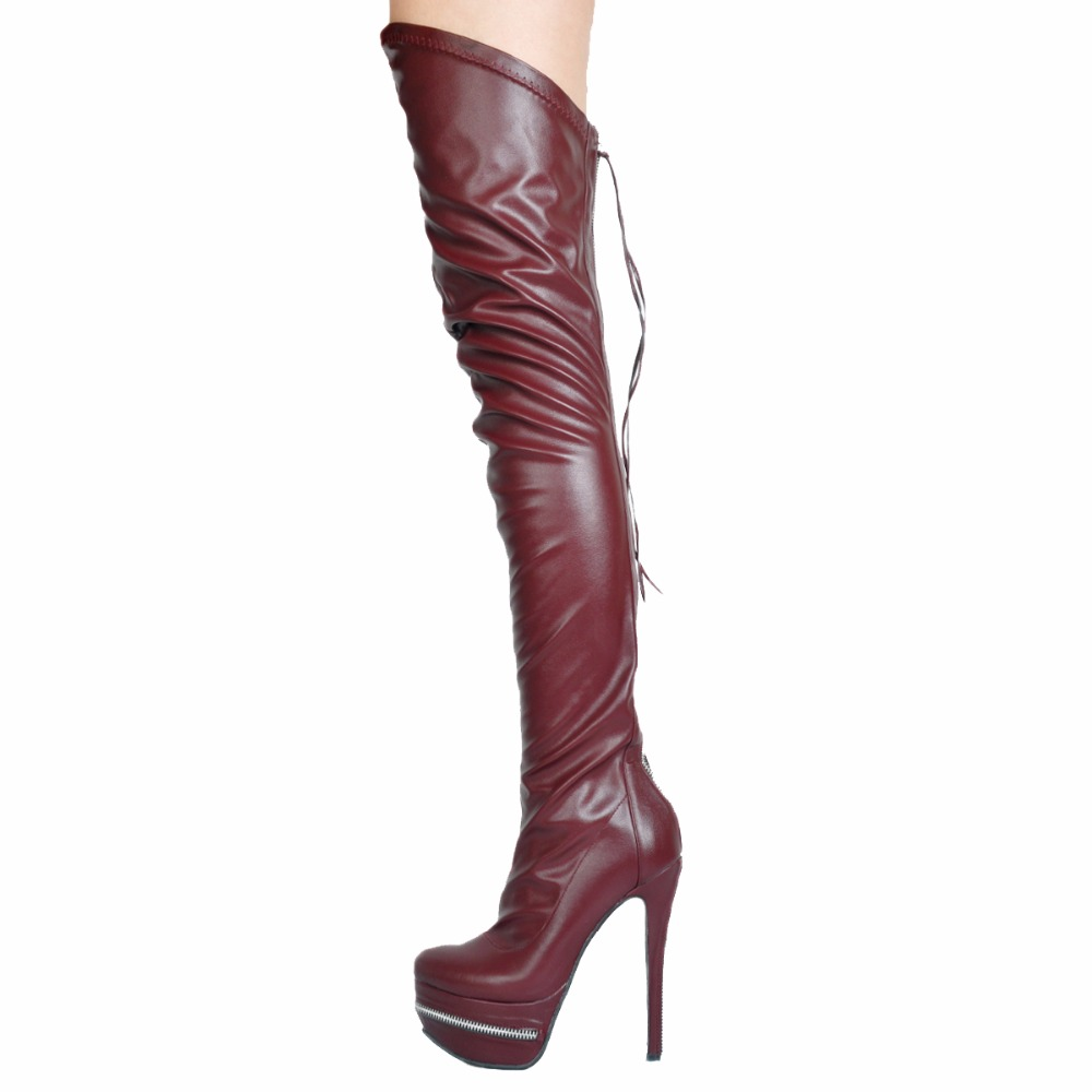 Abesire 2019 Female PU Leather Round Toe Over-the-knee Boots Ladies Thick Platform Side Zipper Long Boots Girls T-stage ShoesAbesire 2019 Female PU Leather Round Toe Over-the-knee Boots Ladies Thick Platform Side Zipper Long Boots Girls T-stage Shoes