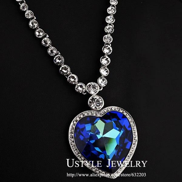 Coeur de l'océan Staterment d'amour luxe grande taille bleu autrichien cristal pendentif collier pour élégance femmes bijoux JN0088