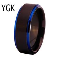 YGK Brand 8MM Black Matte Center With Blue Step Men S Tungsten Comfort Fit Ring For