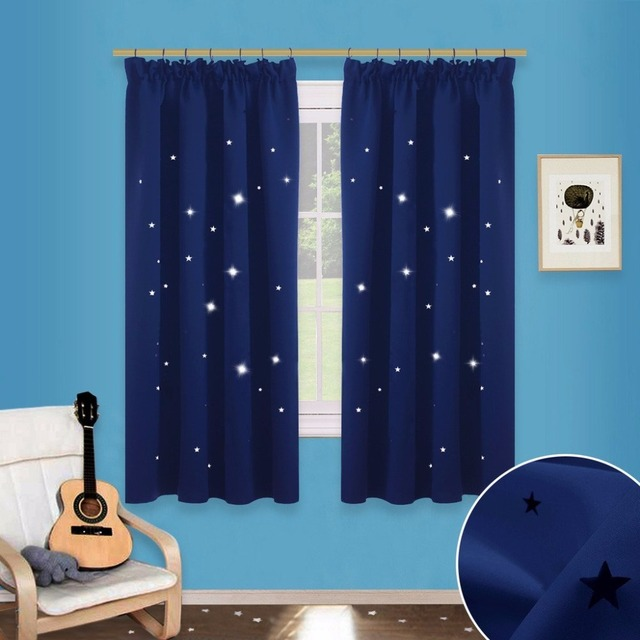 Model Of NICETOW Blue Star Cutout Pencil Pleat Curtains Blackout Window Drapes Hollow Star Curtains Draperies for Ideas - Cool Nursery Curtains In 2019