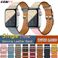 genuine leather single tour bands for apple watch series 5 4 3 2 1, iwatch4 band strap replacement belt with h logo 40 44mm