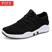 Four seasons flying woven Soft sole mesh breathable lightweight casual men's flat running white shoes fitness outdoor sneakers цена
