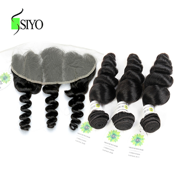 SIYO Malaysian Loose Wave Bundles With Lace Frontal Closure 3 Bundles Human Hair Weave Non Remy Hair Frontal Closure With Bundle