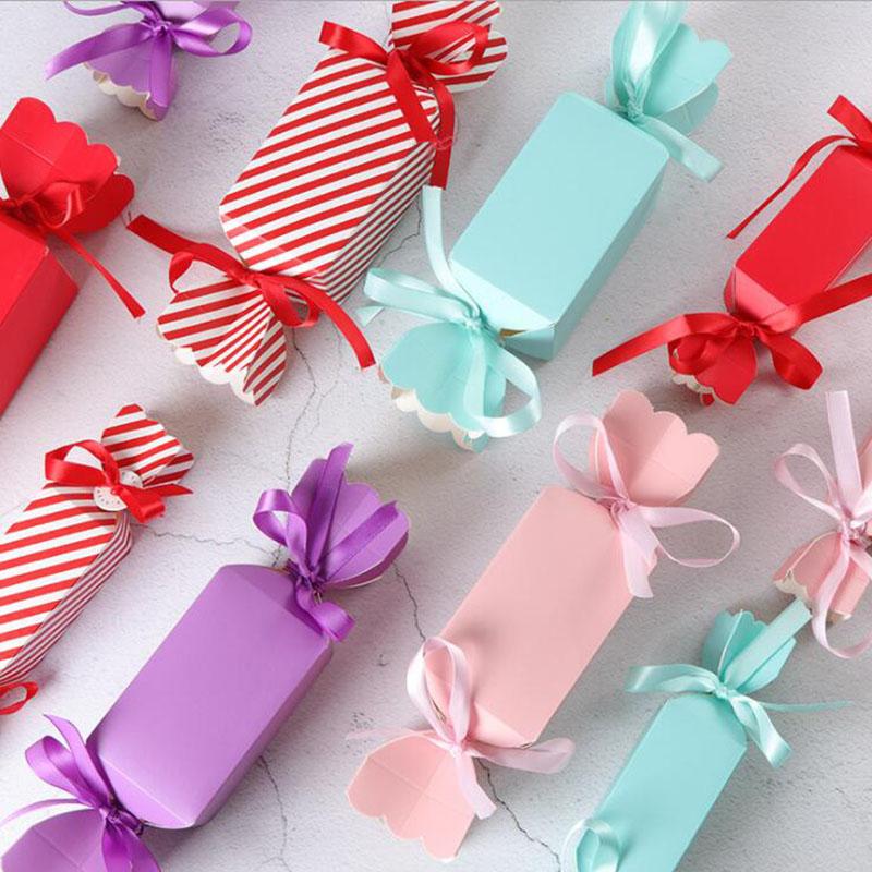 10 шт., разноцветные свадебные коробочки и пакеты для конфет