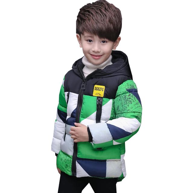 2016 meninos childen inverno Parka jaquetas para Meninos jaquetas Casacos Crianças quentes do bebê de algodão grosso para baixo jaqueta de inverno frio