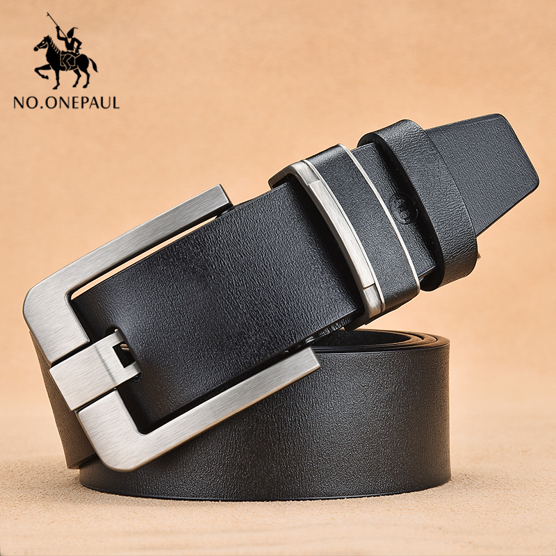 NO.ONEPAUL Men's Classic Retro Punk Leather Brand Belt Men's Fashion Jeans With Adolescent Students Belt Alloy Thick Pin Buckle