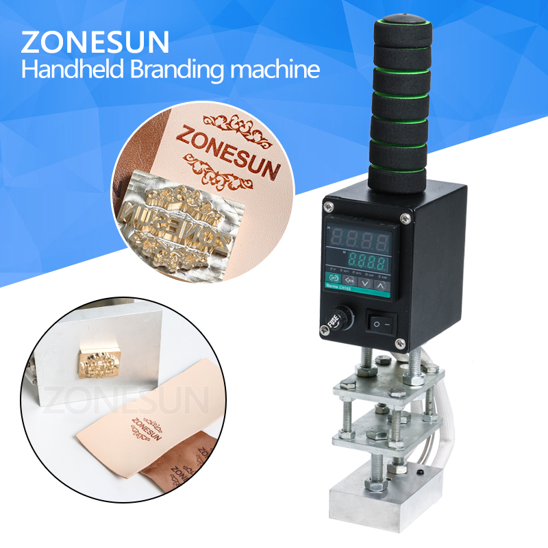ZONESUN Manual Hot Stamping Machine HandHeld Embosser for Leather Wood Paper LOGO Brand Pressing Machine 5x7cm 8*10cm 10x13cm toauto digital hot foil stamping machine large 10x13cm logo embossing tool manual logo branding pvc card paper printing machine