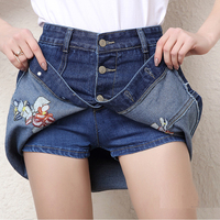 2017 Women New Summer Floral Embroidery Style High Waist Denim Shorts Skirts Plus Size Short Jeans