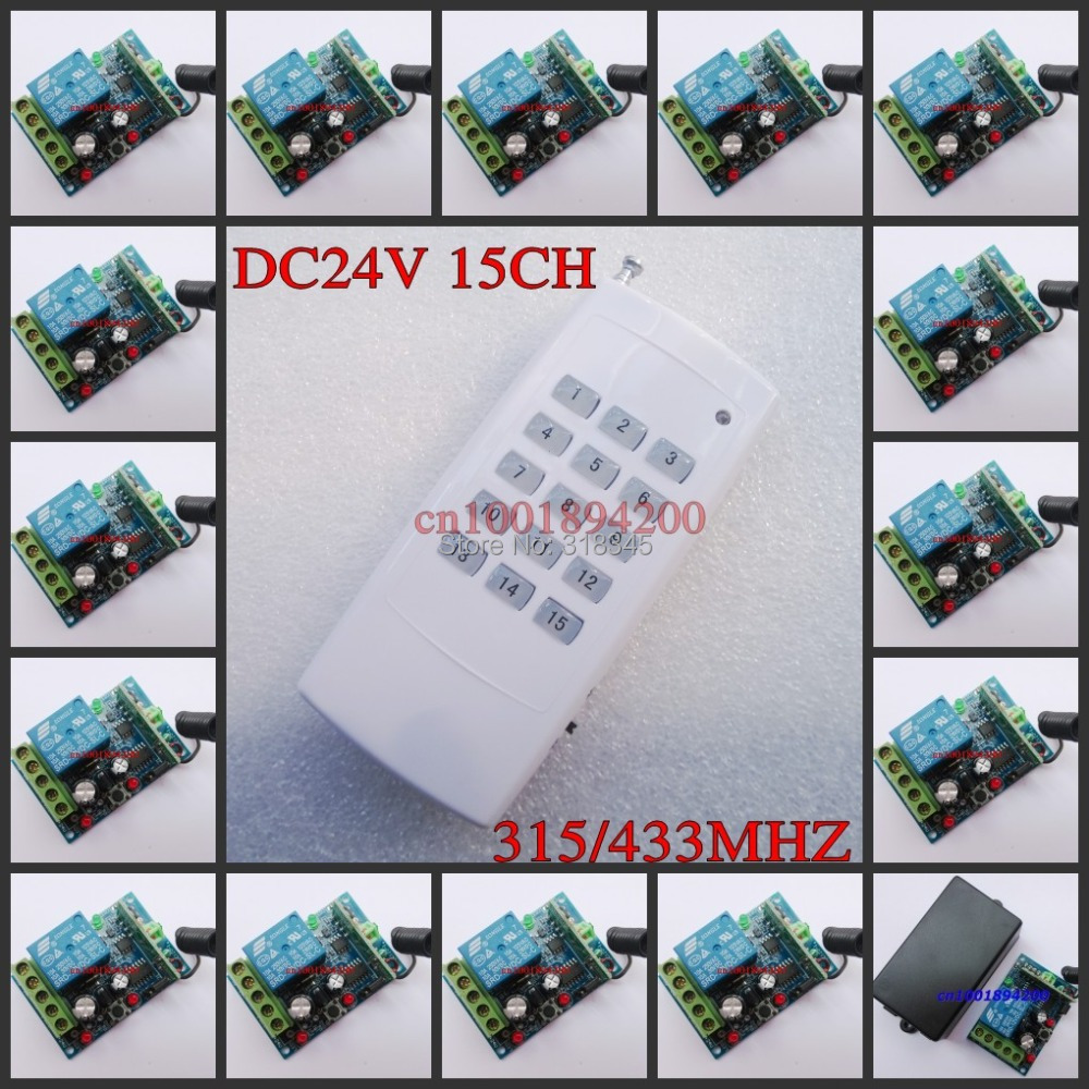 DC24V 15CH RF wireless switch remote control system Receiver&Transmitter Momentary Toggle Latched Adjust Learning 3LED Indicator new ac 220v 30a relay 1 ch rf wireless remote control switch system toggle momentary latched 315 433mhz