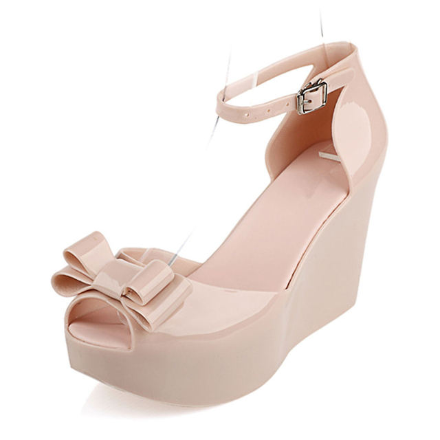 5675bd0d299 Color jelly Wedges women sandals bow platform open toe high-heeled shoes  Butterfly-knot Buckle Strap female High heels sandals