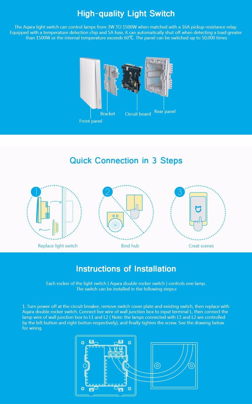 Xiaomi Aqara настенный переключатель Smart Light Switches управление ZigBee версия беспроводное подключение приложение пульт дистанционного управления
