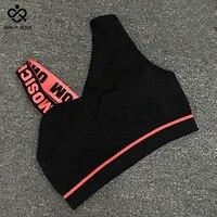 Новая футболка с надписями с вырезами спортивный Спортивный бюстгальтер для женщин Йога Пуш-ап, тренажерного зала, мягкий спортивный Топ Сп...