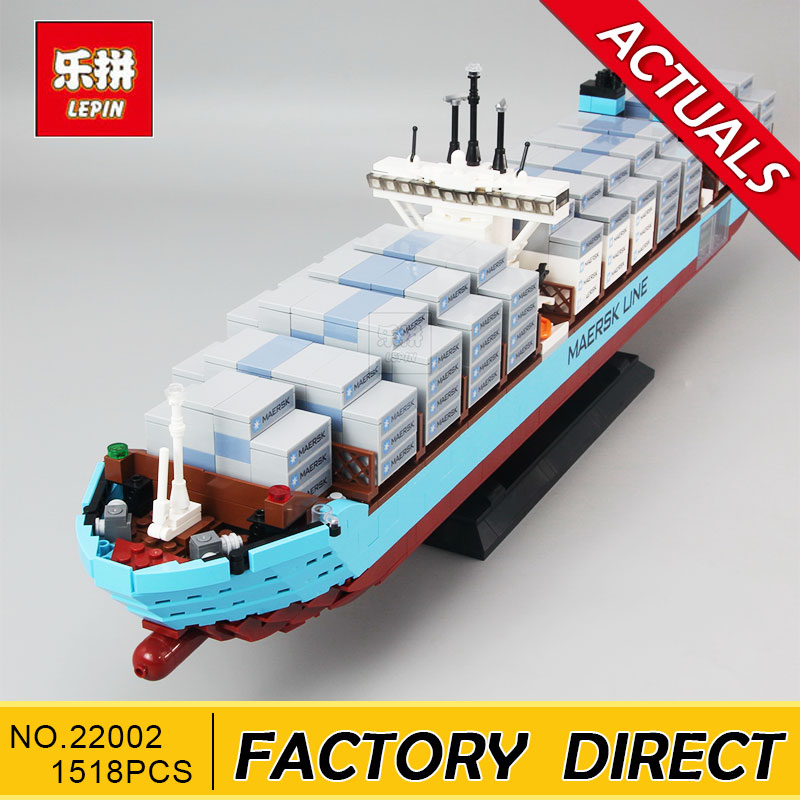 Lepin 22002 1518Pcs Technic Series The Maersk Cargo Container Ship Set Educational Building Blocks Bricks Model Toys Gift 10241 lepin 16042 2344pcs building blocks set new pirate ship series the slient mary set model gift 71042 educational christmas toys