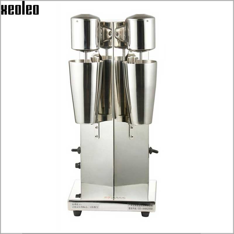 Xeoleo Milkshake machine Stainless Steel Milk Shake Machine Double Head Drink mixer Make Milks Foam/Milkshake Bubble Tea Machine 220v commercial single double head milkshake machine electric espresso coffee milk foam frother machine bubble maker