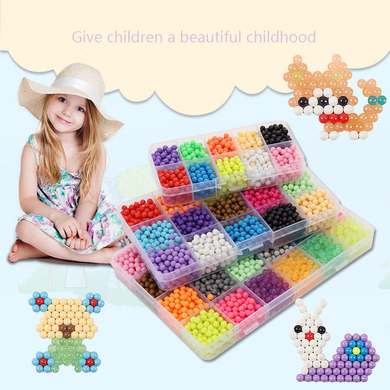 Replenishment Pack 24 Color 3D Jigsaw Puzzle Aquabeads Magic Aquarium Aquarium Bead Children s Jigsaw Puzzle