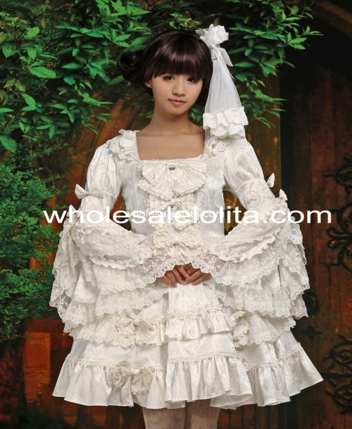 Robe Lolita col carré manches longues blanc pur robe boule robe Lolita gothique