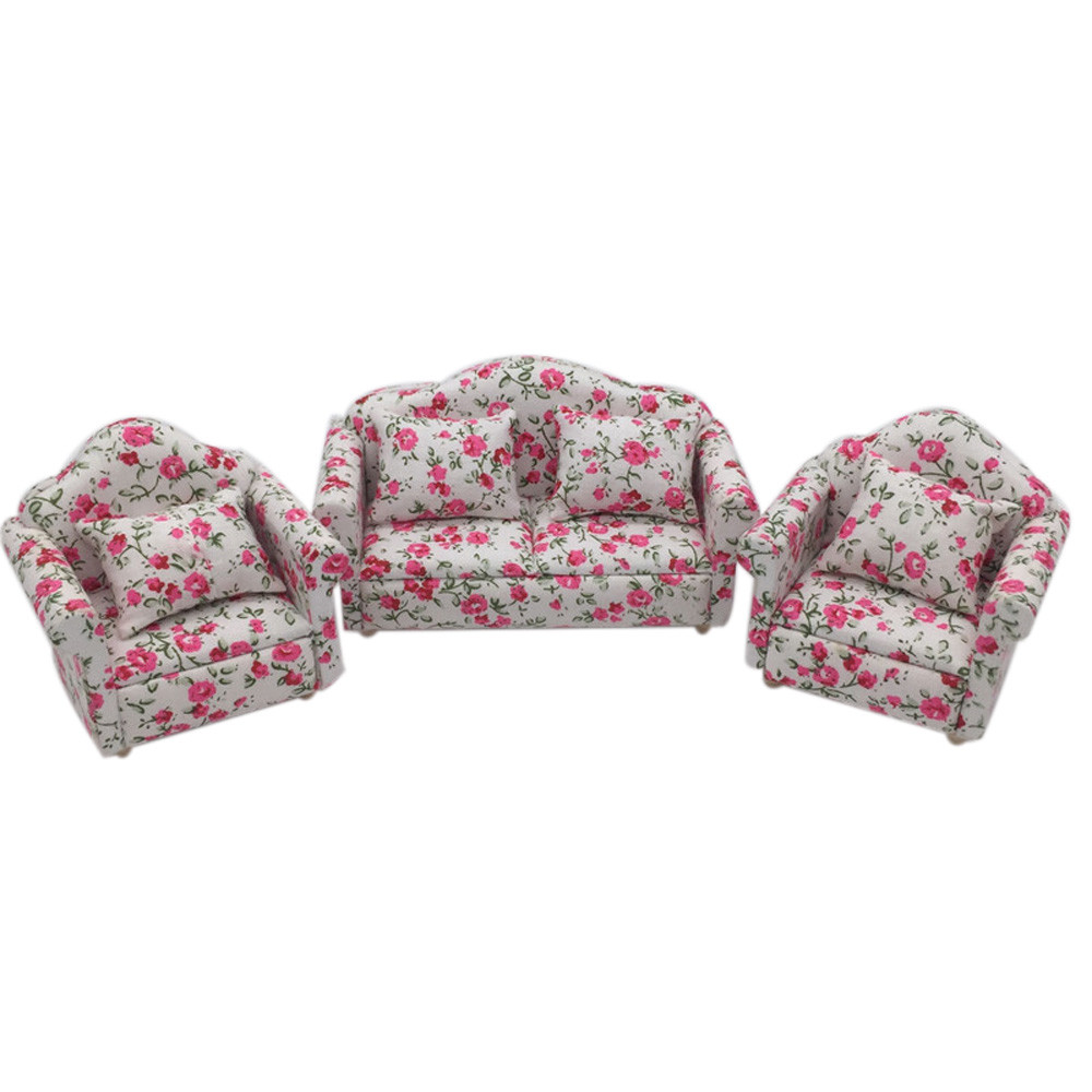 1:12 Dollhouse Miniature Furniture Floral Sofa Couch Living Room Decor Toy