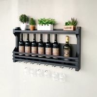 60 100cm Wrought iron wine rack wine glass rack wall hanging cup holder Bar Under Cabinet Display Hanging Shelf Stemware