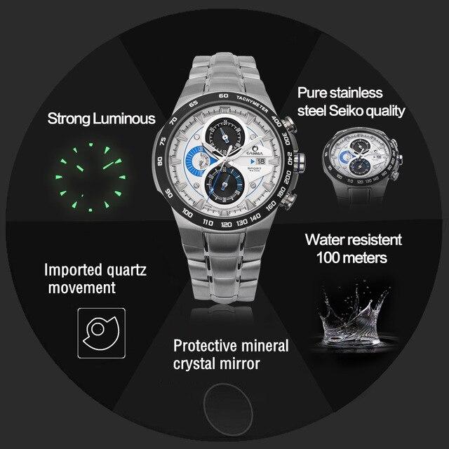 Mens Watches Top Brand Luxury CASIMA Multi Kinetic Luminous Men's Sports Watch Quartz Watch waterproof 100M Relogio Masculino