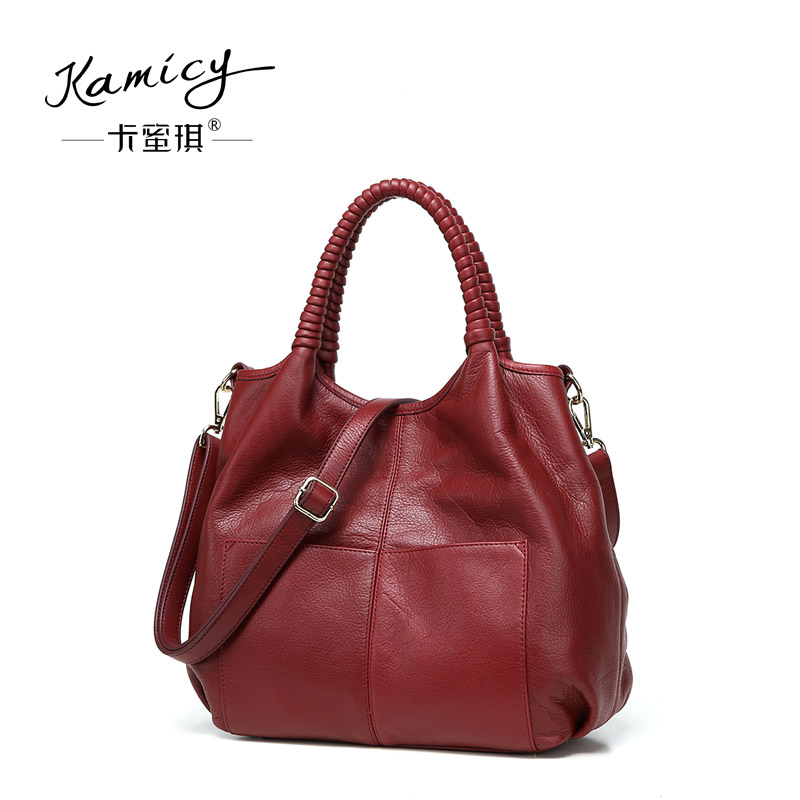 02454d811f27 Fashion leather bags of new fund of 2018 autumn winters is recreational  joker his single shoulder bag large capacity woven bag