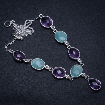 "Natural Amazonite and Amethyst Handmade 925 Sterling Silver Y-Shaped Necklace 17.25"" S3462"